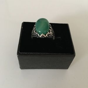 Other - Men's 925 Sterling Silver Agate Ring Sz 12